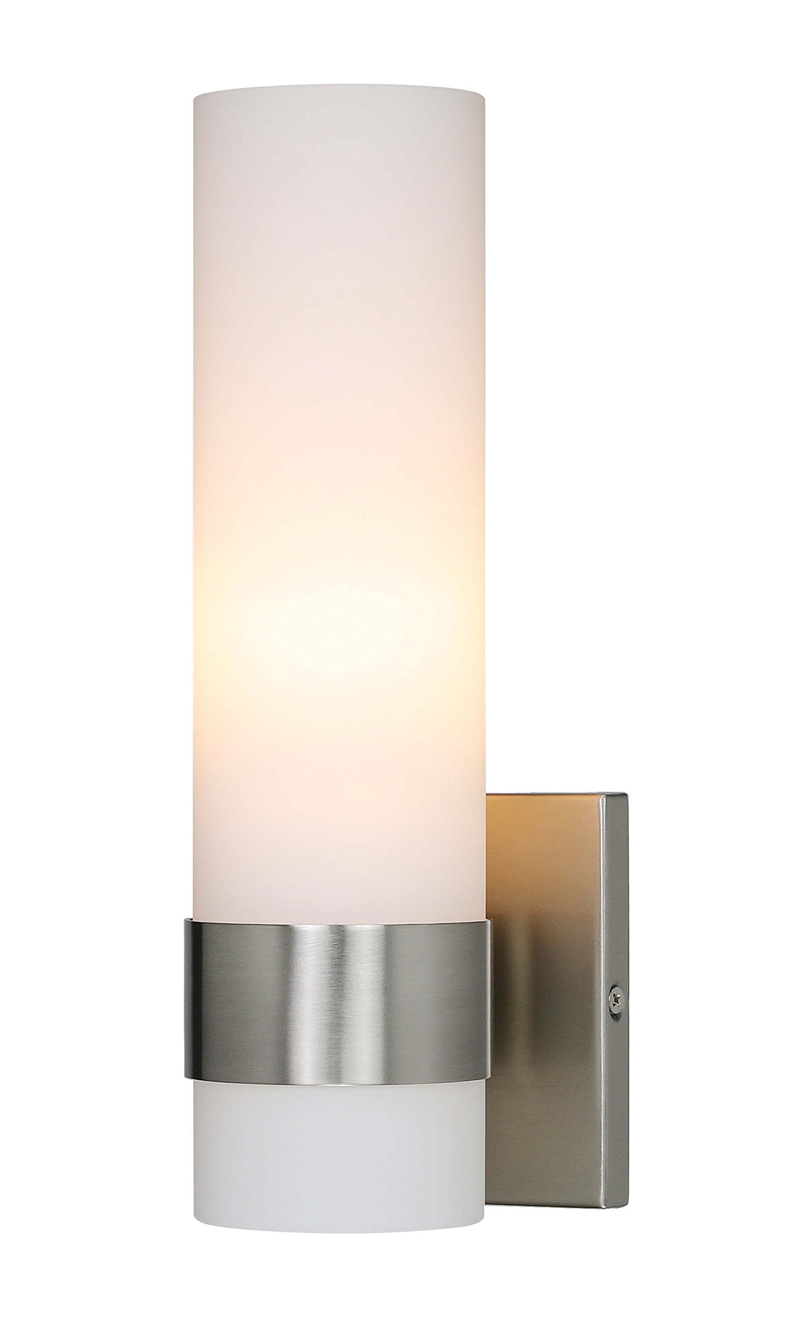 Wall Light ADA Wall Sconce with Opal Cylinder Glass in Brushed Nickel, Bathroom Vanity Light with GU24 Bulb Suitable for Living Room & Corridor XiNBEi-Lighting XB-W1185-BN
