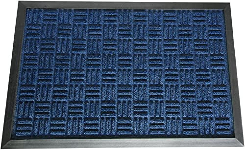 Rubber-Cal 03-197-ZWBL Wellington Rubber Carpet Door Absorbent Mat, 4 x 6 , Blue