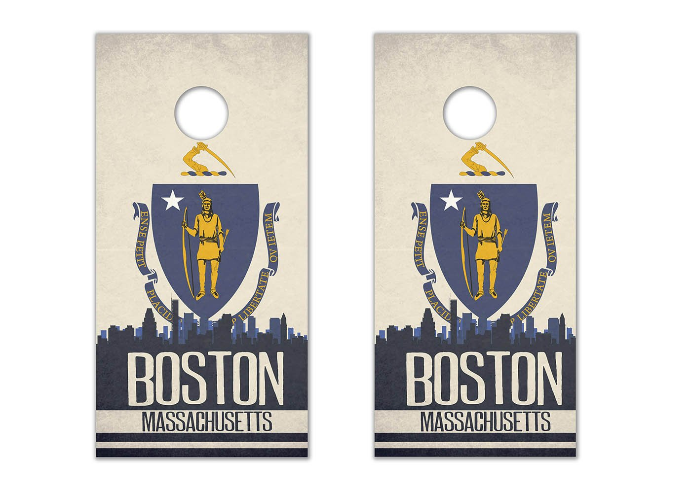Boston State Flag Skyline - Cornhole Crew - ACA Regulation Size Cornhole Board Decals