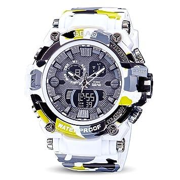 Logobeing Reloj LED Digital Hombre Pulsera Relojes Deportivos Impermeables Electrónica Digital Relojes Militares (Blanco)