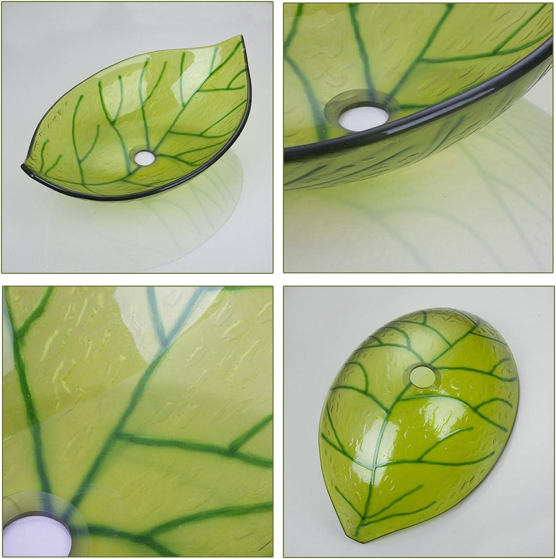 Yanksmark Silver Color Glass Wash Bowl Vessel Sink /& Chrome Bathroom Faucet Finish Combo Set Come with Pop Up Drain
