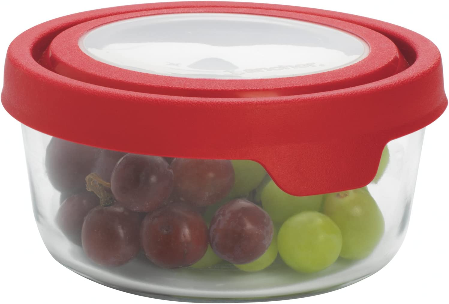 Anchor Hocking TrueSeal Glass Food Storage Container with Airtight Lid, Cherry, 4 Cup