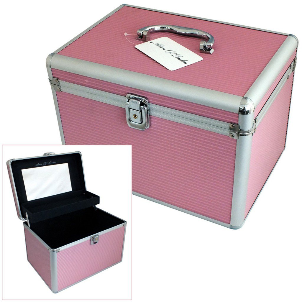 Astin of London® Large Pink Aluminium Lockable Vanity Case Cosmetic Beauty Storage Box