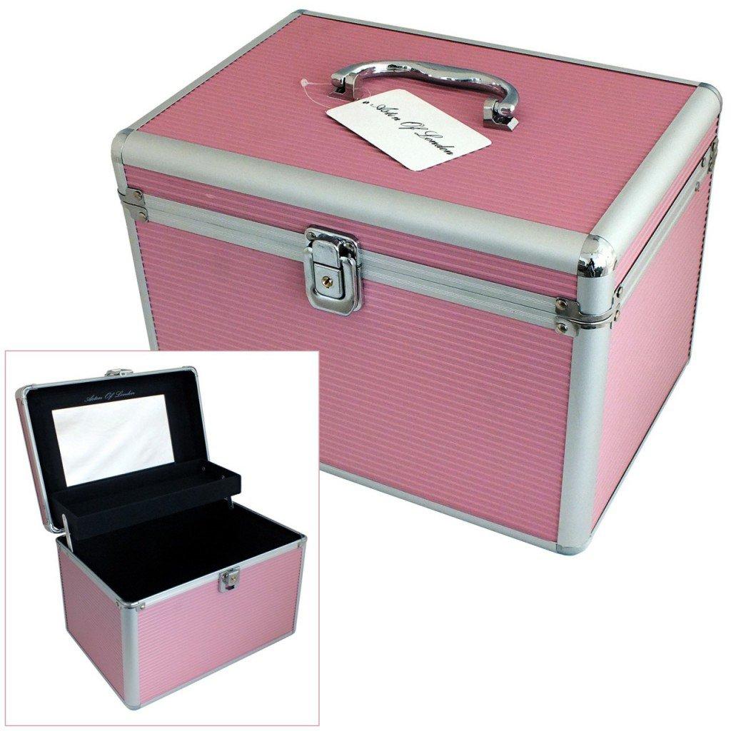 Astin of London® Large Pink Aluminium Lockable Vanity Case Cosmetic Beauty Storage Box