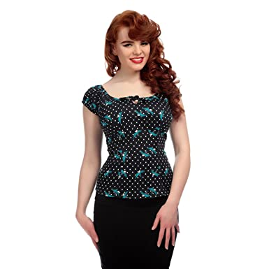 64d12a1888 Collectif Vintage Women s Rockabilly Swallows Lorena Doll Top UK 14   Amazon.co.uk  Clothing