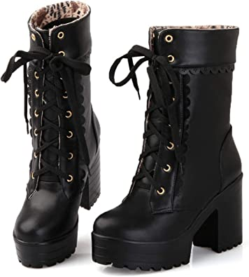 Faux Leather New Shoes Celebrity Womens High Heels Wedges Chunky Boots