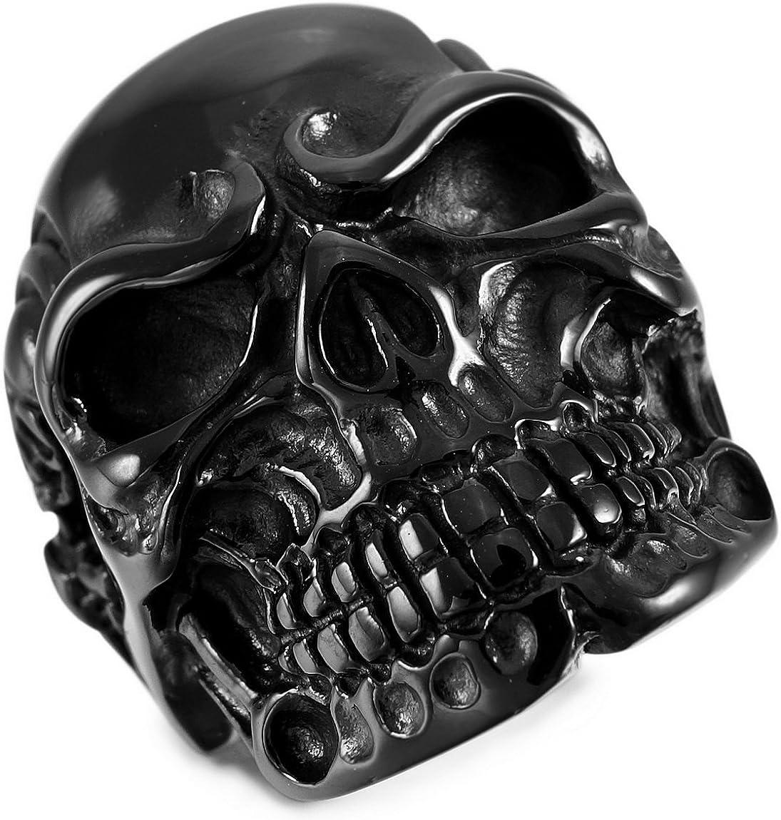 INBLUE Men's Stainless Steel Ring Silver Tone Black Skull Bone