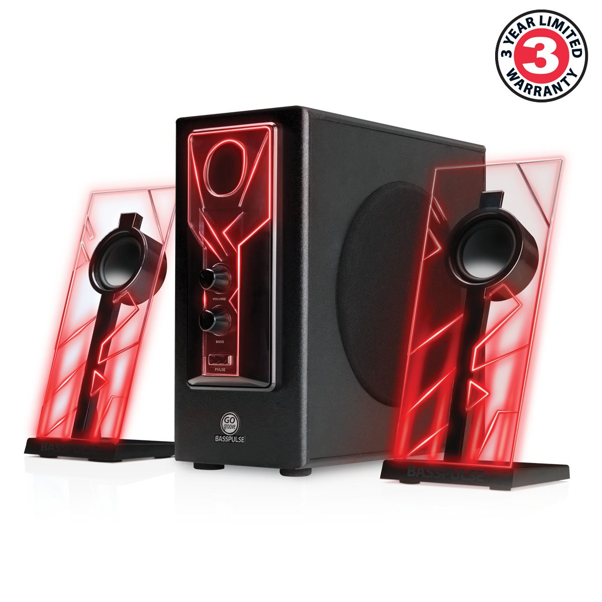 sound system with subwoofer. amazon.com: gogroove basspulse 2.1 computer speakers with red led glow lights and powered subwoofer - gaming speaker system for music on desktop , laptop sound