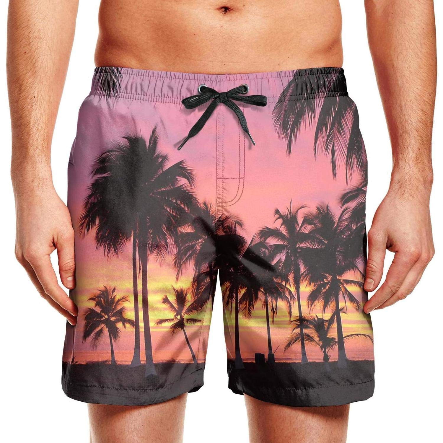 Quick-Dry Mens Beach Shorts Hello Summer Palm Trees Sunset Swim Trunks with Adjustable Drawstring