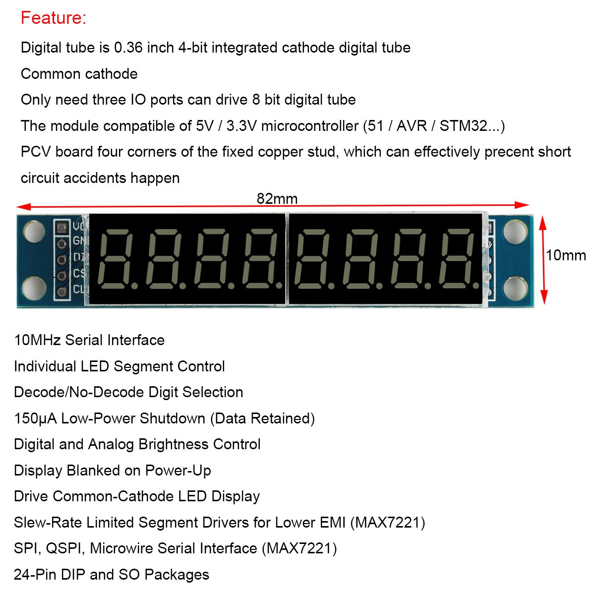 Makerfocus 4pcs 8 Digit 7 Segment Module Max7219 Bit Digital Lcd In 4 Mode Tube Led Display Supports Cascade Eight Serial 3 Io Ports For Arduino