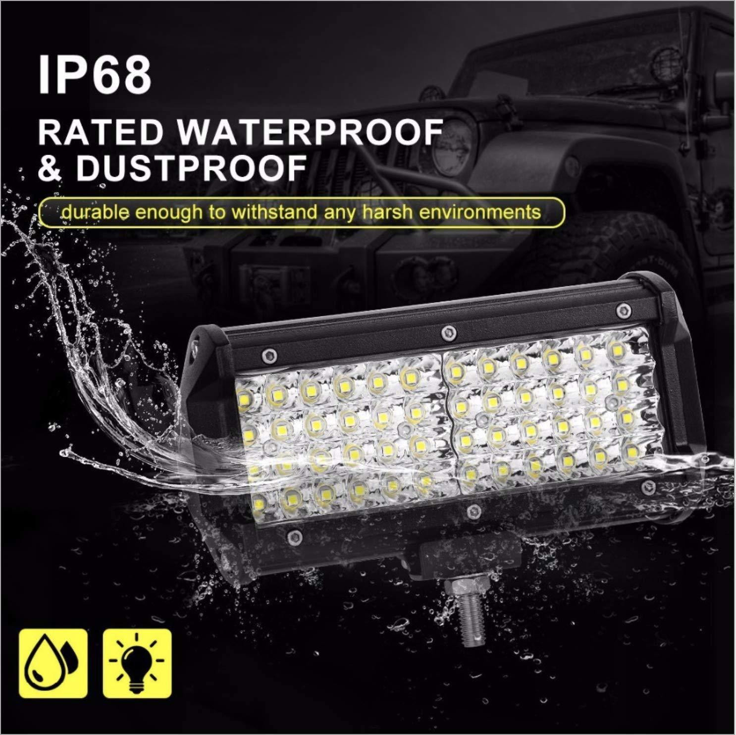 pour camion LIUNIAN Barre de lumi/ère de travail /à LED 7 pouces 240W 12000LM 6000K IP67 Barre de lumi/ère /à LED hors route pour feux de brouillard de conduite /étanches super lumineux
