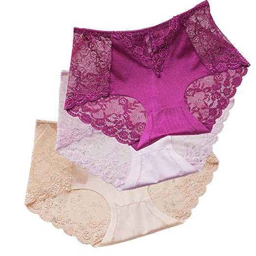 e78630286cb Sujisi Women s Sexy Lace Panties Intimate Lingerie 3 Pack Briefs Sheer Mid  Waist Underwear (L
