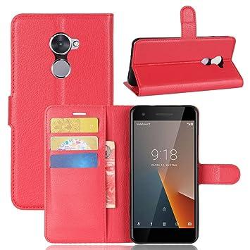 promo code 4ee13 b3c42 Vodafone Smart V8 Case Flip Slim Folio PU Leather Debout Fonction Red Phone  Case Vodafone Smart V8 Wallet Cases