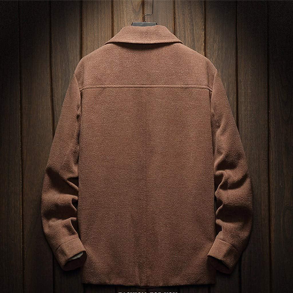 Allywit M-XXXXL Mens Casual Trench Wool Coat Fashion Long Sleeve Slim Overcoat Jacket Outwear