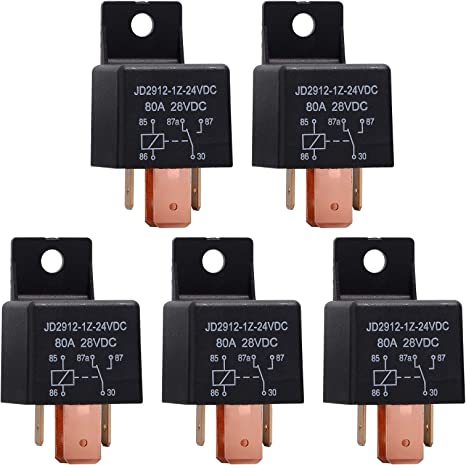 Ehdis Pack Of 5 Relay 24 V 80 A 5 Pin Car Relay For Car Truck Motor Boat Van Vehicle Auto