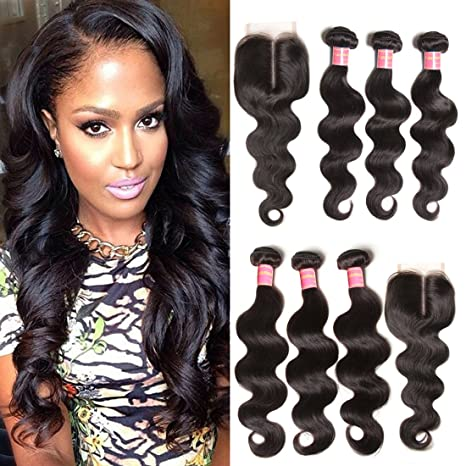 Jolia Hair 3 Bundles Virgin Brazilian Wavy Hair Weave With 1 Piece