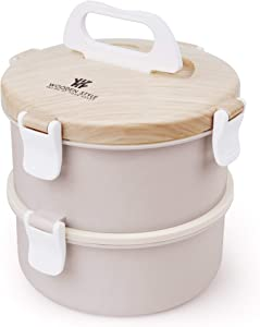 Stackable Compartment Lunch Box | Stainless Steel Bento Box | Bamboo Design / 2-Tier Portable Leakproof Food Container for Kids and Adults Included Utensil(Pink)