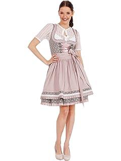 5678aa4dcac50b Krüger MADL Dirndl Fashion Queen 60er Länge grau rot: Amazon.de ...