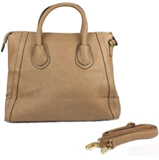 10213 Damen Handtasche, Henkeltasche, Bowling Bag, 3 Farben: taupe beige/pewter, schwarz/creme oder schwarz, Farbe:schwarz Curuba