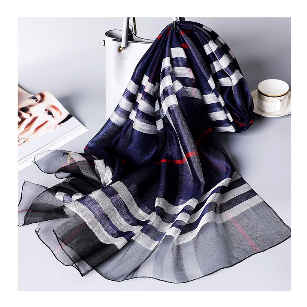 bluee Women Ladies Silk Scarf Hangzhou Fashion Stripe Long Nordic Lightweight Sunscreen Mother Shawl Thin Section Female Scarves (color   Black)