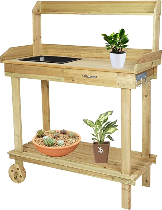 Vilobos Wood Potting Bench Work Station Table with Tabletop Removable Sink Drawer Shelves Hooks on Wheels for Outdoor Garden -Natural