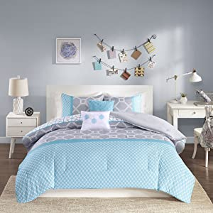 Intelligent Design - Clara -All Seasons Comforter Set -5 Piece - Blue - Geometric Pattern - Full/Queen Size - Includes 1 Comforter, 2 Shams, 2 Decorative Pillows - Ideal For Guest Room