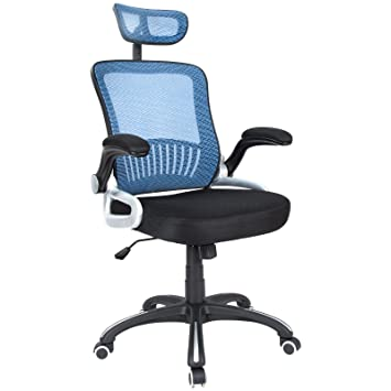 Hu0026L Office Mid Back Blue Mesh Executive U0026 Managerial Computer Desk Swivel  Office Chair With Headrest