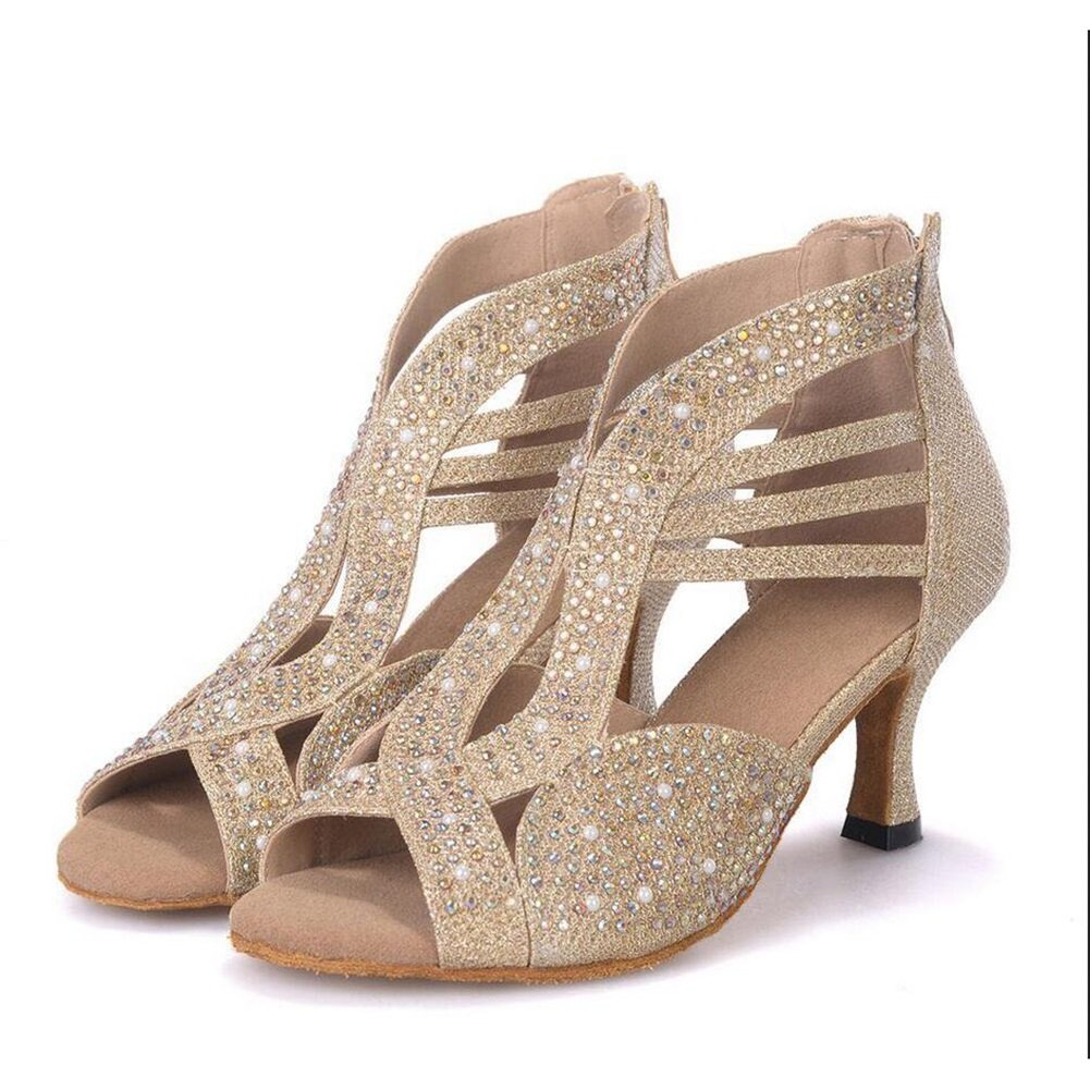 Onfly New Damen Latin Schuhe funkelnde Glitter Sandale Ballroom Schuhe/Fersen Performance/Professional Strass/Sekt Glitter Flared Heel eu size  35 B