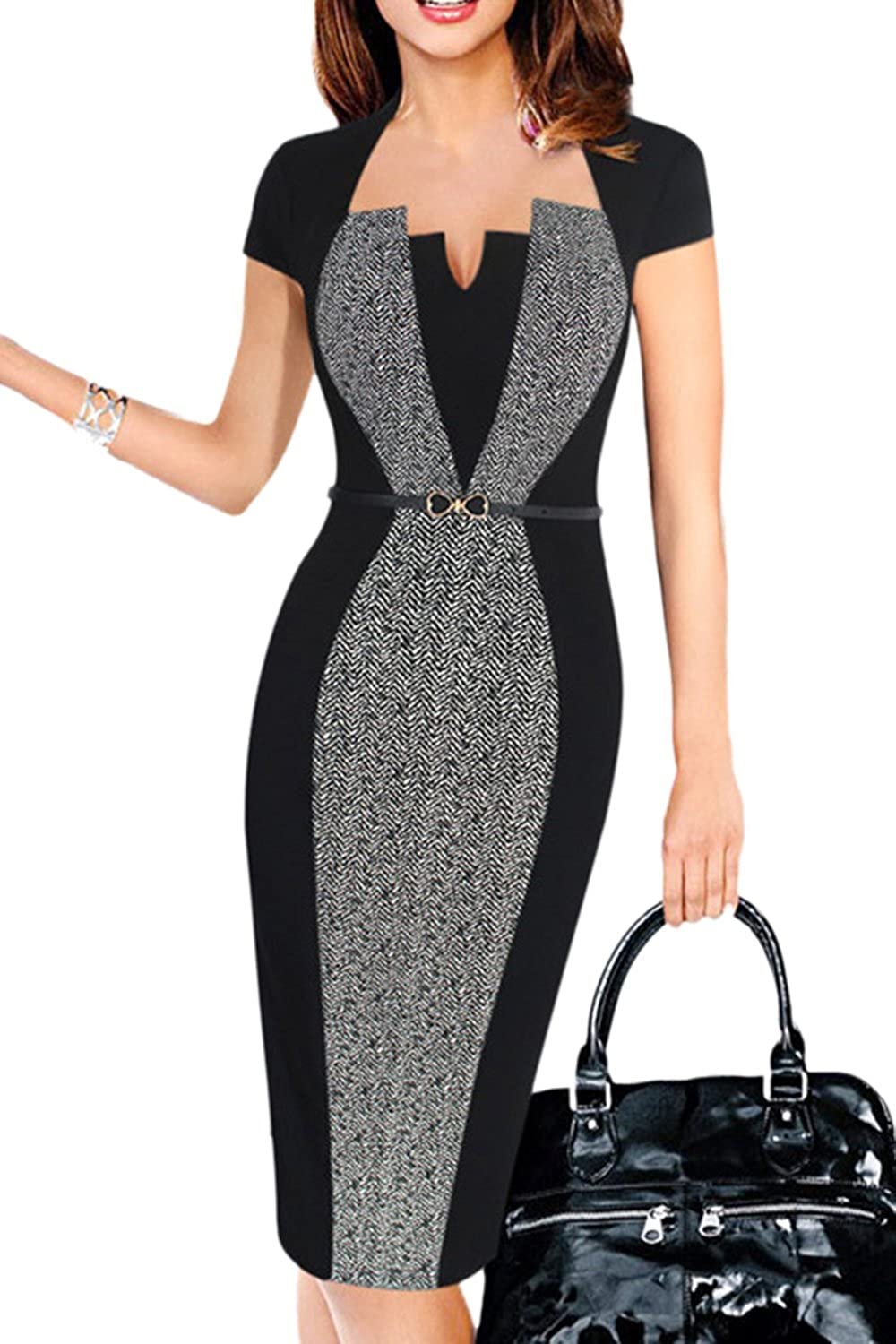 Suvimuga Womens Work Dress Office Cocktail Short Sleeve Bodycon Pencil Dresses