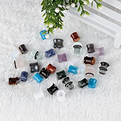 KUBOOZ 32 unids Conjunto Tapones para Orejas de Cristal de Acrílico de Piedra Mixta Túneles Manómetros Camilla Piercings00g: Amazon.es: Joyería