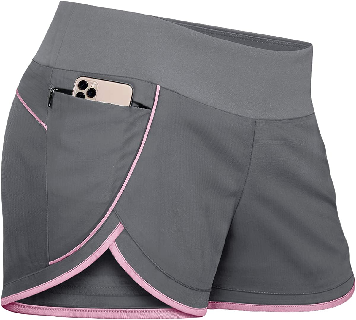 Fulbelle Womens Banded Waist Running Fitness Workout Shorts Invisible Zipper Pockets: Clothing
