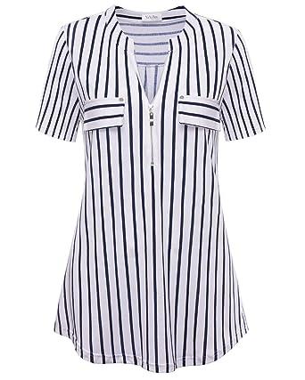 234a40a4ca7 YaYa Bay Spring Women s Notch-V Neck Short Sleeve 3 4 Roll-up Sleeve ...