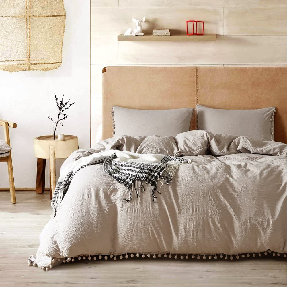 Smoofy Bedding Duvet Cover Set Ball Pom Fringe Bedding Pillowcase Sets (Queen, Apricot)
