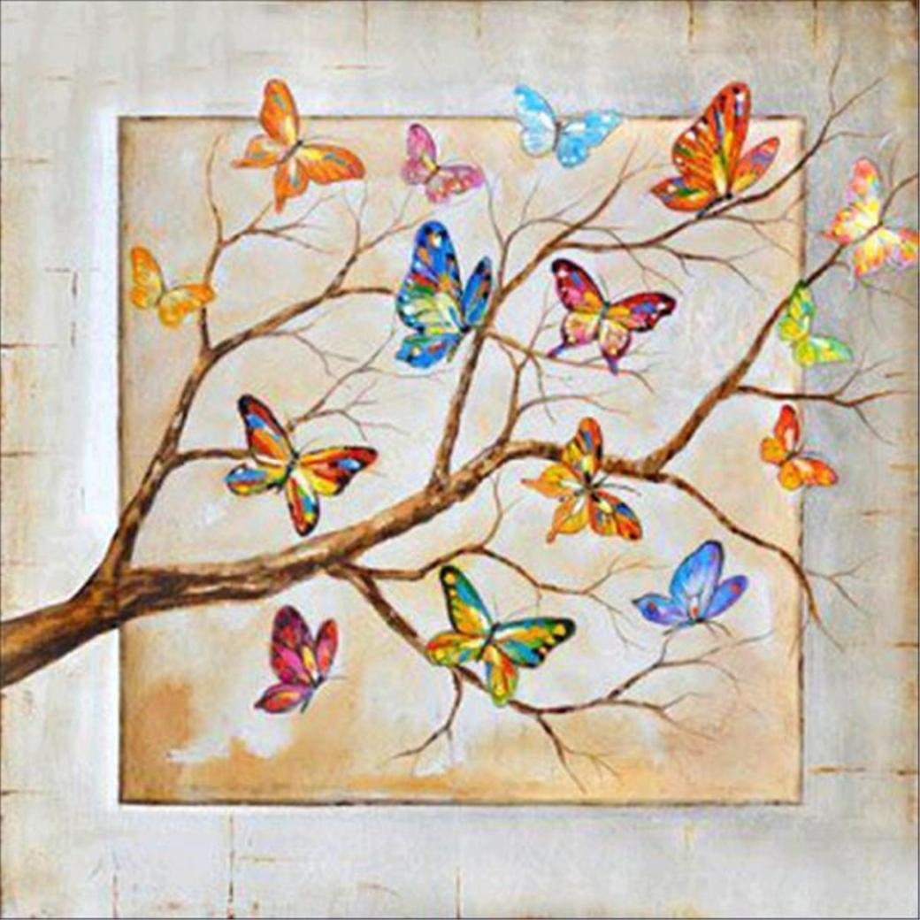DIY 5D Diamond Painting, Cheng 5D Multicolour Butterfly Tree Diamond Embroidery Paintings Rhinestone Pasted DIY Diamond Painting Cross Stitch Home Wall Decor Art Wallhanging Stickers 30*30cm (Multicolour) Cheng Diamond Painting
