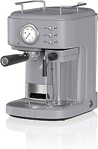 Swan Retro One Touch Espresso Machine, Grey, 20 Bars of Pressure, Milk Frothing Steamer, 1.7L Tank, Retro style, SK22150GRN, espresso maker