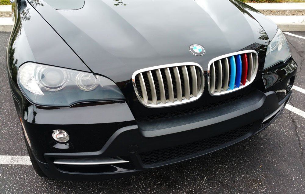iJDMTOY Exact Fit //////M-Colored Grille Insert Trims For 2016-up BMW X1 Front Center Kidney Grilles 7 Beams