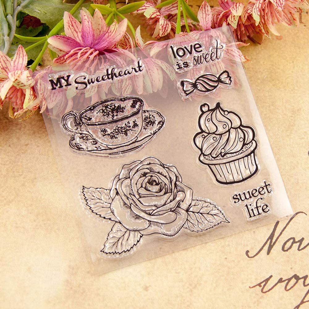 7.7 by 9.3 Inches Flower Frame Sweet Letters Clear Rubber Stamps for Scrapbooking Card Making Christmas Clear Stamps