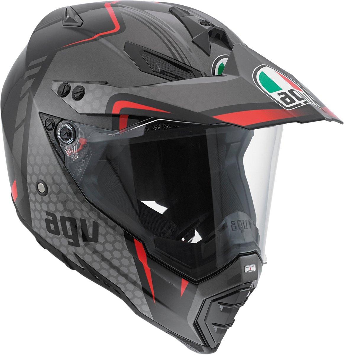 AGV AX-8 Dual Sport Evo Helmet (Black/Silver/Red, Medium)