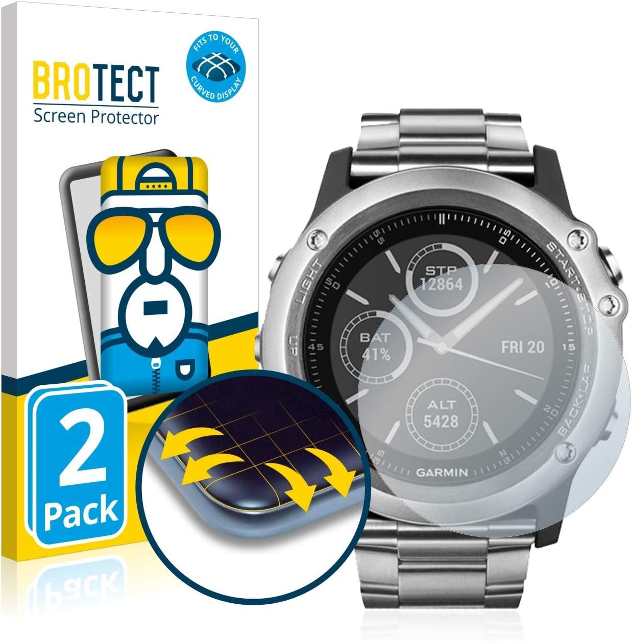 Dureza 9H AirGlass 3 Unidades BROTECT Protector Pantalla Cristal Compatible con Garmin Forerunner 910XT Protector Pantalla Vidrio