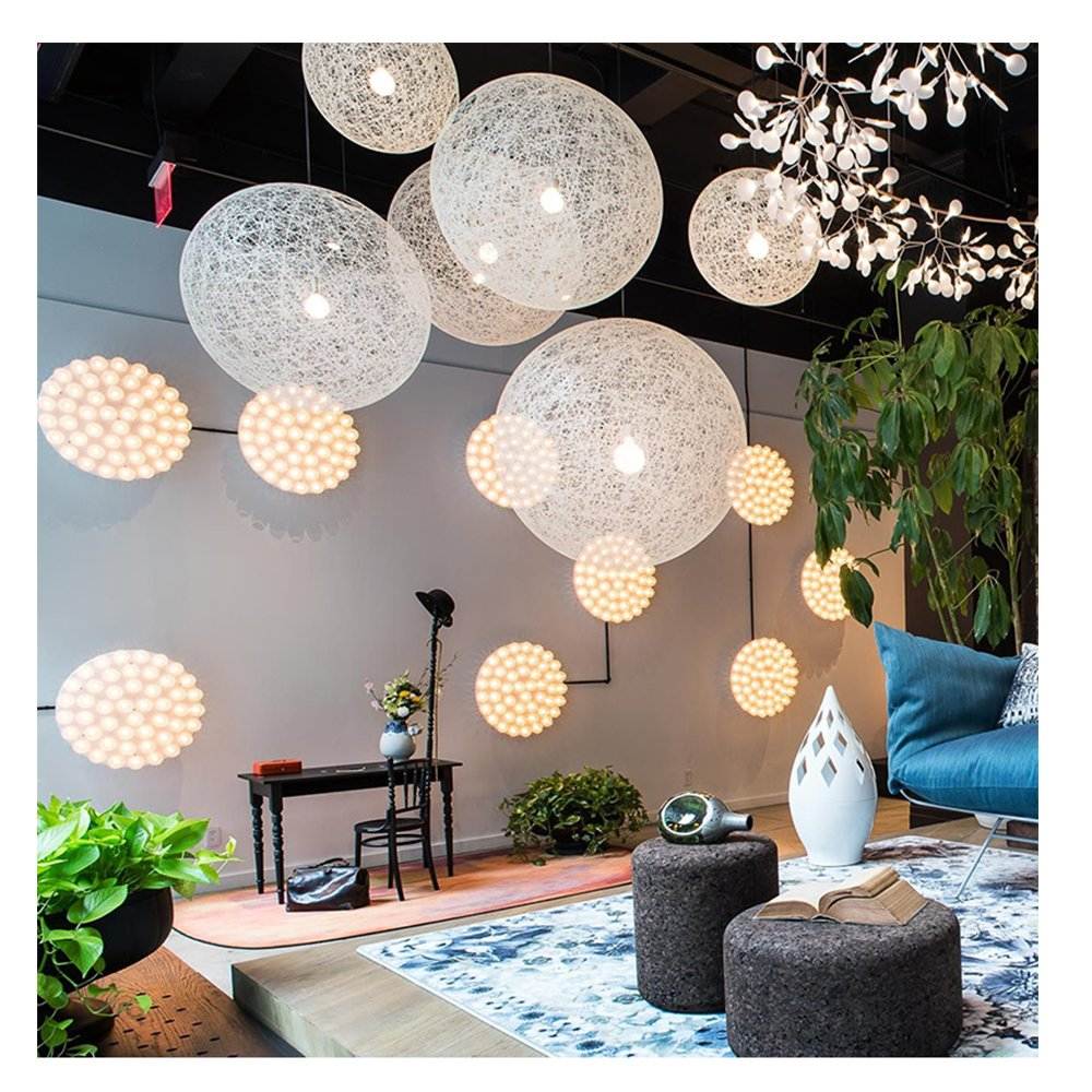 Modern Lattice Wicker Rattan Globe Ball Style Ceiling Pendant Light Lampshade Home Dining Decoration Lamps 23cm (White) by Huahan Extension