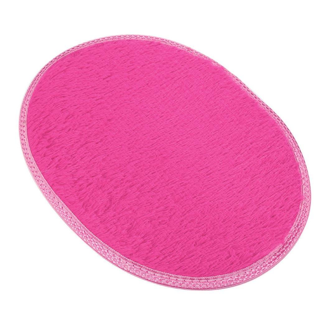 samLIKE Oval Fluffy Rug,Non-Skip,Dust Cleaning Carpet Bath Living Room Rug Gripper For Carpets,13 Colors black