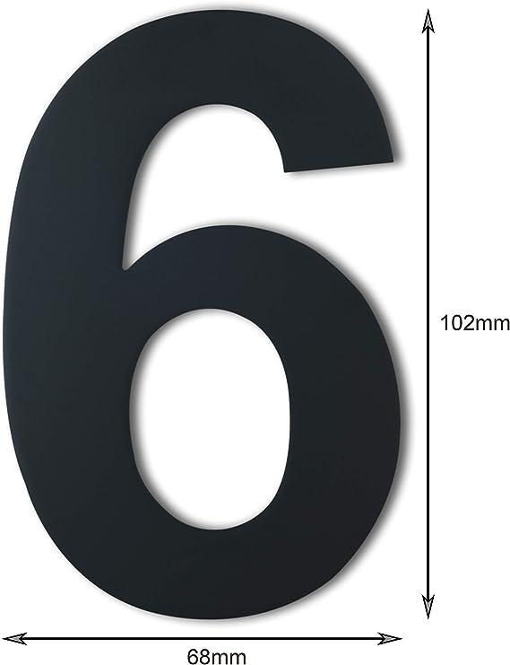 placcato nero 4 pollici Numero civico moderno spazzolato acciaio inossidabile massiccio 304 N/úmero 5 Cinco altezza 102 mm