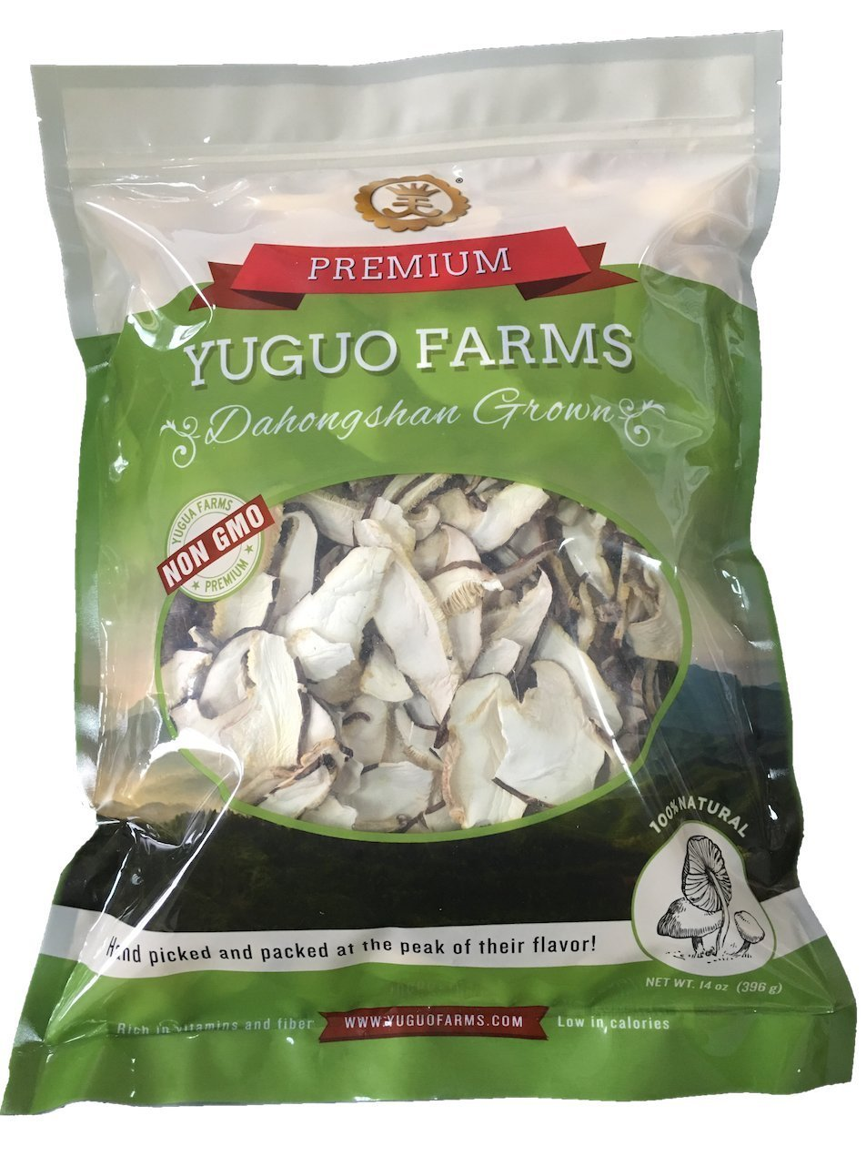 Yuguo Farms Dried Sliced Shiitake Mushrooms 100% Naturally Grown, NON-GMO, 14 oz bag, 2 Pack