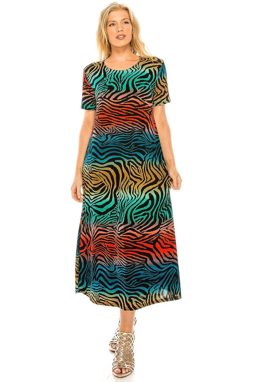 W171 Multi Jostar Women's Stretchy Long Dress Short Sleeve Print