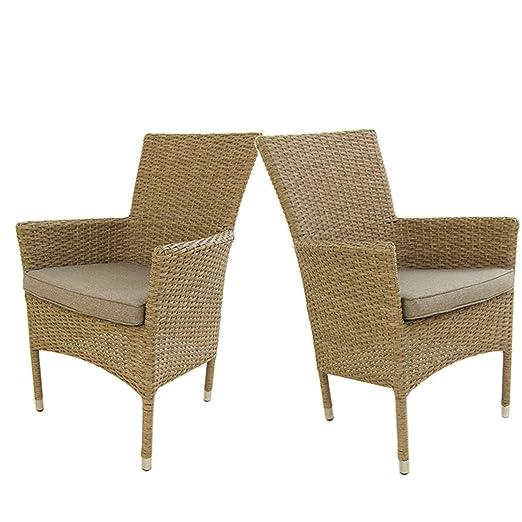 Edenjardi Pack 2 sillones de Exterior apilables, Tamaño: 55x62x92 cm, Aluminio y rattán sintético Color Natural, Cojín marrón