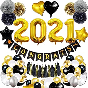 Graduation Decorations 2021 Kit in 54pc - Black & Gold Graduation Party Supplies with 2021 Balloons, Congrats Grad Banner, PomPoms, Hanging Swirls Decor - Full Value Pack for 2021 Graduation Decor and New Year Eve Party Decor