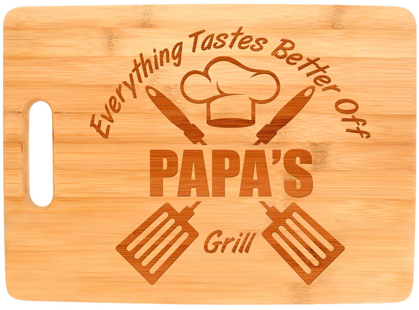 Laser Engraved Cutting Board Everything Tastes Better Off Papa's Grill Gifts for Papa Grilling Gifts for Chefs Papa Birthday Gifts Big Rectangle Bamboo Cutting Board