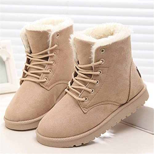 Ankle Boots for Women Female Fur Lace Up Fenty Platform Snow Boots Suede Plush Sewing Botas