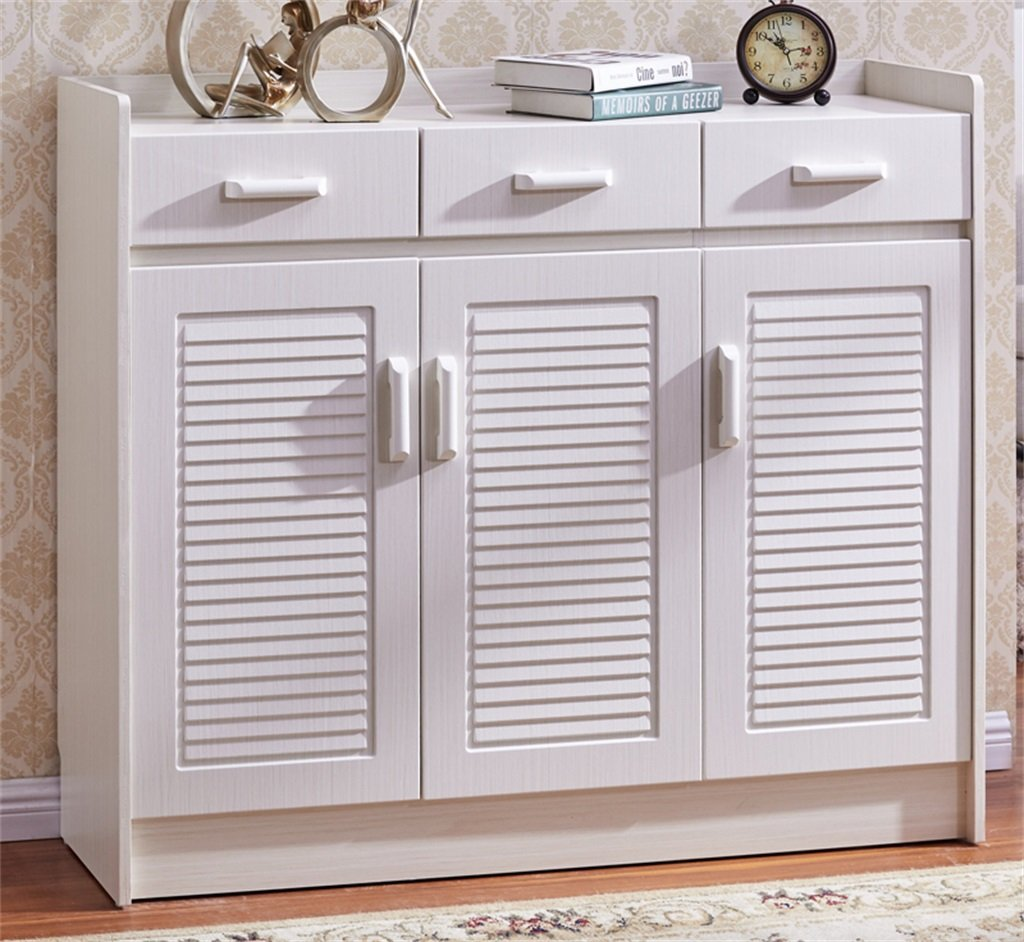 ALUS- White Porch Closet Simple Louvier Wardrobe Living Room European Shoe Cabinet Simple Modern Ultra-thin Large Capacity Drawer Shoe Locker ( Size : 11832102cm )