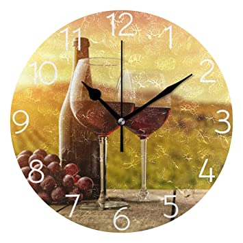 Agona Vintage Red Wine Grape Wall Clock Art Wall Clocks Battery Operated Non Ticking Silent Wall Clock Decorative For Living Room Decor Kitchen Kids